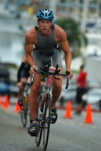 70.3 Oceanside (March 19th, 2005) 1st Pro out of the water in 23:30mins. My debut over the Half-Ironman Distance (4h23, 14th).
